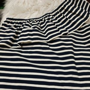 J. Crew One Shoulder Ruffle Striped Top, Sz S